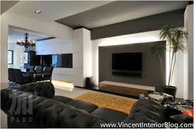 living room with tv on wall tamingthesat pertaining to modern