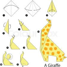 Step By Step Origami For - step step how to make origami a giraffe stock