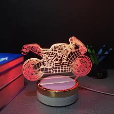 motorcycle usb touch night lamp 3d table lamps 7 color changing