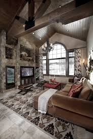 Home Interior Designs Ideas Rustic Great Room With Cathedral Ceiling Greatrooms Rustic