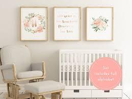 Personalized Nursery Decor Printable Blush Baby Nursery Decor Large Nursery Decor