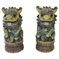 foo dogs for sale pair of ceramic temple foo dogs tag sale item sold ruby