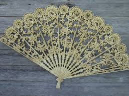 lace fans vintage burwood plastic wall plaque or bed headboard ivory lace fan