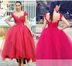 2016 red prom party dresses appliques lace cap sleeves tulle ankle
