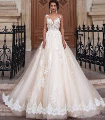 champagne tulle lace wedding dresses plus size appliques sheer