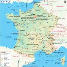 france map showing the capital city paris with major cities and