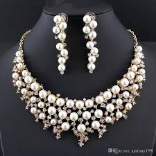color pearl necklace images 2018 new elegant women 39 s jewelry set rhinestone imitation gold jpg