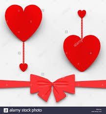 two hearts with bow meaning loving celebration or decoration stock