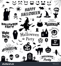 Happy Halloween Icons Halloween Party Icons Set Trick Treat Stock Vector 496346044