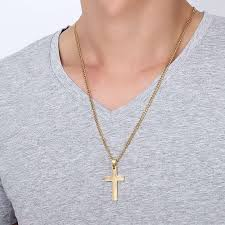 gold colored chain necklace images Jewelry men 39 s cross necklaces for women men stainless steel gold jpeg