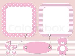 pink baby photo frames stock vector colourbox