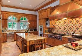 mexican tile backsplash kitchen rustic kitchen with raised panel by the corcoran zillow