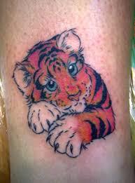 small tiger on leg tattoomagz