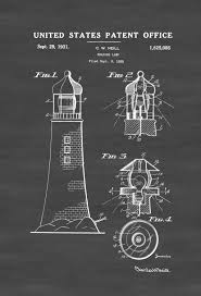 Seaside Decor Lighthouse Patent Print Beach House Decor Wall Decor Patent