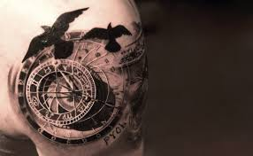 Unique Clock by Unique Clock With Flying Birds Tattoo On Shoulder By Niki Norberg