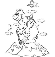 Coloriage vacances à la montagne Un ours randonneur joue au yoyo