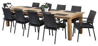 Perth Dining Chairs Stanford Black 10 Seater Recycled Teak Table Outdoor Dining