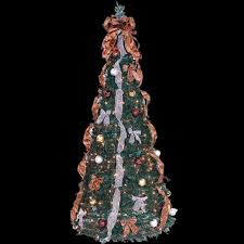 decorating tabletop trees with lights