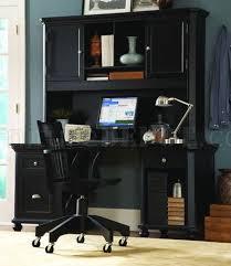 Desk With Hutch Black Black Finish Contemporary Desk W Hutch Storage Cabinets