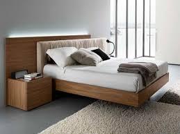 Floating Bed Frames Plush Rug Made From Brown Wooden Floating Bed Frame