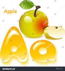 colors of orange alphabet letter a apple english capital stock vector 270324842