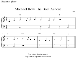 free easy piano sheet music for beginners michael row the boat ashore