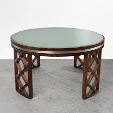 scandinavian modern coffee table with lattice legs metal inlay