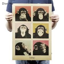poster k che vintage poster gorilla theke küche retro kraftpapier