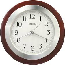 Wall Clock Bulova 14 In H X 14 In W Round Wall Clock With Wood Case And