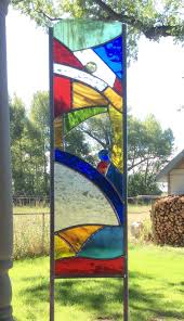 Flag Stakes Stained Glass Garden Stake Colorful Glass Art For Your Yard By