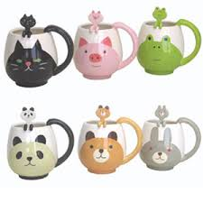 animal character round mug u0026 spoon sets add cuteness to any