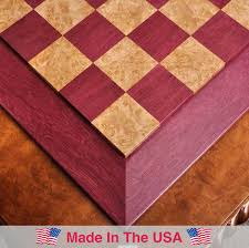 Contemporary Chess Set Custom Contemporary Chess Board Purpleheart Maple Burl 2 5