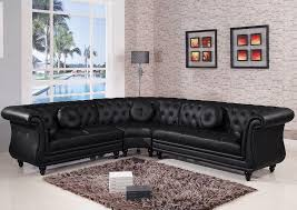 Black Leather Sofa Modern Living Room Futuristic Corner Black Leather Sofa Design Ideas