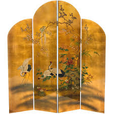 Gold Room Divider 6 Ft Gold 4 Panel Golden Cranes Room Divider Lcq Scr Ha2064 The