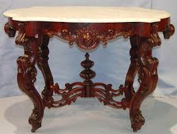 victorian marble top end table dark walnut victorian rococo revival center marble top table