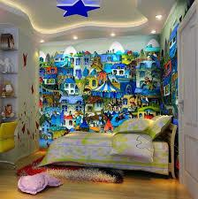 fresque chambre fille design interieur fresque murale chambre enfant ville maisons bleues