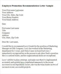 ideas collection letter of recommendation for job promotion for