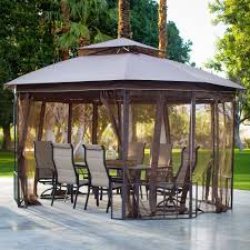 Outdoor Patio Canopy Gazebo Outdoor Patio Octagon 10x12 Ft Gazebo Canopy With Curtains Durable