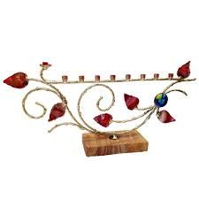 gary rosenthal menorah crafted of metal and mounted on this handcrafted menorah by