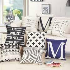 taie d oreiller pour canapé noir et blanc coussin covers géométriques triangles bande carte du