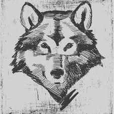 wolf head hand drawn sketch grunge texture engraving style u2014 stock