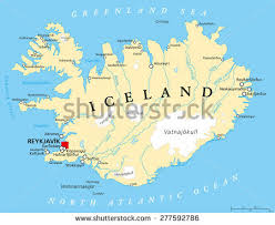 iceland map iceland political map capital reykjavik national stock vector