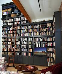 full wall bookshelves living room traditional with built in oak