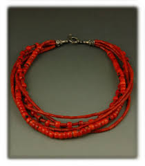 beaded red necklace images Multi strand red coral bead necklace jpg
