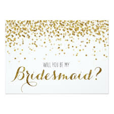 bridesmaids invitation gold glitter confetti will you be my bridesmaid 5x7 paper