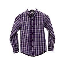 cinch western shirt boys kids l s plaid pocket purple mtw7060124