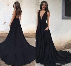 2017 cheap summer deep v neck black long prom dresses ruffled