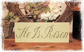 Wooden Hanging Easter Decorations by He Is Risen Easter Sign Easter Basket Gift Wood Sign Christian