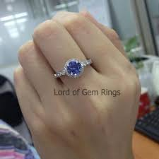 7mm diamond 529 tanzanite engagement ring pave diamond wedding 14k