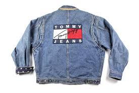 Tommy Hilfiger Flag Vintage Vintage 90s Tommy Hilfiger Big Flag Logo Spell Out Denim